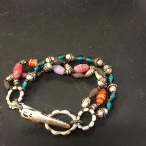 Lucky brand silver beaded bracelet